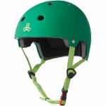 Triple 8 Brainsaver Helmet with Certified EPS Liner-Kelly Green Rubber-XS/S