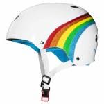 Triple 8 Brainsaver Helmet with Certified Sweatsaver Liner-White gloss Rainbow-XS/S