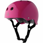 Triple 8 Brainsaver Helmet with Sweatsaver Liner-Pink Glossy with Grey Sweatsaver-XS