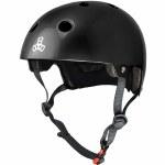 Triple 8 Brainsaver Helmet with Certified EPS Liner-Black Gloss-XS/S