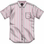 Vans Mens Anton Short Sleeve Button-Up-White/fuchsia Purple-S