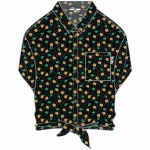 Vans Womens Commanding Lead Woven Short Sleeve Button-Up-Polka Ditsy-S