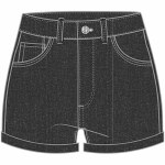 Vans Womens High Rise Roll Cuff Short-Black Fade-26