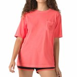 Vans Womens Pocket V Short Sleeve T-Shirt-Hot Coral-S