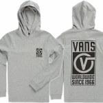 Vans Van Doren Hooded Long Sleeve T Shirt Boys-Cement Heather-L