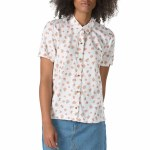 Vans Driver Short Sleeve Woven Shirt Womens-White Ditsy Poppy-S
