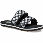 Vans Cayucas Slide Sandal Womens-(Checkerboard)Black/Marshmallow-6