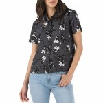 Vans Driver Short Sleeve Woven Shirt Womens-Black Floral Splash-XS