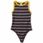 Vans Womens Lizzie Stripe Bodysuit-Black/Golden Palm-S