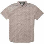 Vissla Mens Boozer Eco Woven Short Sleeve Button-Up-Pink Smoke-S