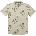 Vissla Mens Ala Moana Woven Short Sleeve Button-Up-Bone-S