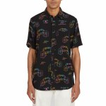 Volcom Mens Alien Woven Short Sleeve Button-Up-Black-S