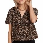 Volcom Womens Gen Wow Short Sleeve Button-Up-Black Floral Print-S