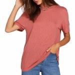 Volcom Womens Tern N Bern Short Sleeve Top-Dust Red-XS