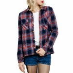 Volcom Plaid About You Long Sleeve Flannel Womens-Midnight Blue-S