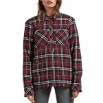 Volcom Plaid About You Long Sleeve Top Womens-Burgundy-S