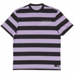 Welcome Big Beautiful Stripe Short Sleeve Knit T Shirt-Black/Lavender-XL