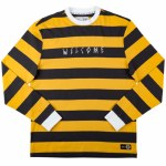 Welcome Big Beautiful Stripe Embroidered Long Sleeve Knit-Black/Gold/White-L