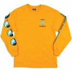 Welcome Waves Long Sleeve T Shirt-Gold/Teal/Black-L