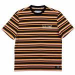Welcome Mens Surf Stripe Short Sleeve T-Shirt-Cheddar/Black-XL