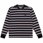 Welcome Mens Icon Stripe Long Sleeve Top-Black/Grape-M