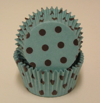 "1-1/4""X 2"" Aqua with White Dots Baking Cups 500 Count"