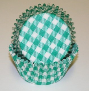 """1-1/4""""X2"""" Gingham Green Baking Cups 500 Count"""