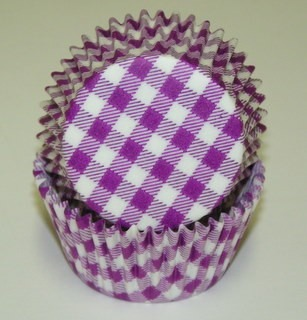 "1-1/4""X2"" Gingham Purple Baking Cups 500 Count"