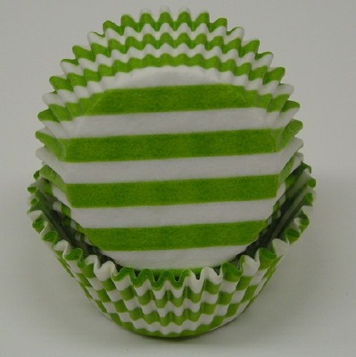"""1-1/4""""X2"""" Stripe Lime Green Baking Cups 500 Count"""