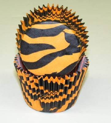 "1-1/4""X2"" Zebra Black & Orange Baking Cups 500 Count"