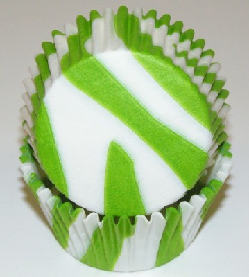 """1-1/4""""X2"""" Zebra Lime Green and White Baking Cups 500 Count"""