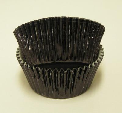 """1-1/8"""" X 2"""" Black Foil Baking Cup 500 Count"""