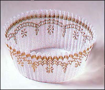 """1.25""""X2"""" Round White / Gold Baking Cups 500 Count"""