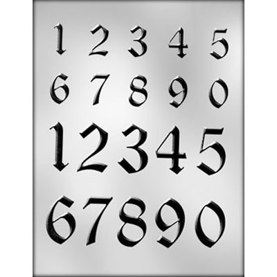 """1 3/8"""" & 2"""" Numbers Mold (20)"""