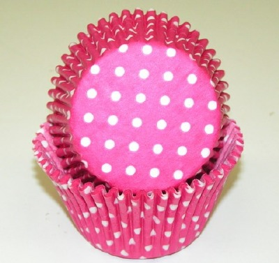 """1-7/8""""X2.5"""" Muffin Baking Cups Pink with White Dots 500 Count"""
