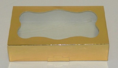 1 Pound Gold Foil Cookie Box with Window
