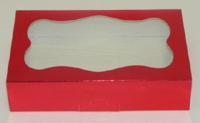 1 LB Red Foil Cookie Box Window