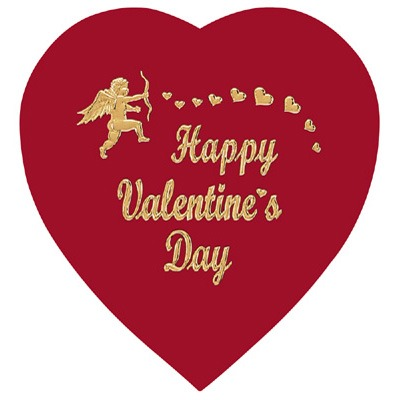1 LB Red Foil Heart with Gold Stamp