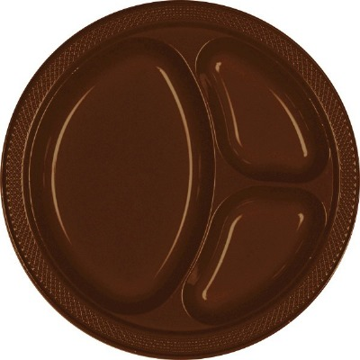 "10.25"" Divided Plate 20 CT Brown"