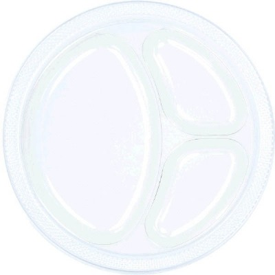 """10.25"""" Divided Plate 20 CT Clear"""