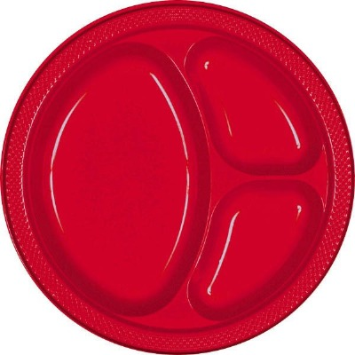 """10.25"""" Divided Plate 20 CT Red"""