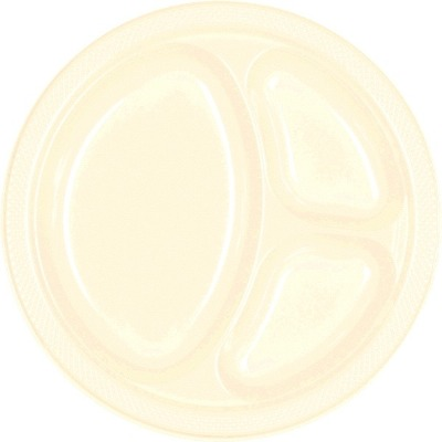 "10.25"" Divided Plate 20 CT Vanilla Creme"