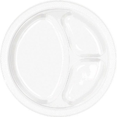 """10.25"""" Divided Plate 20 CT White"""