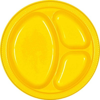 """10.25"""" Divided Plate 20 CT Yellow"""