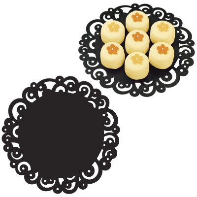 "10"" Doily Swirl Black 10 CT"