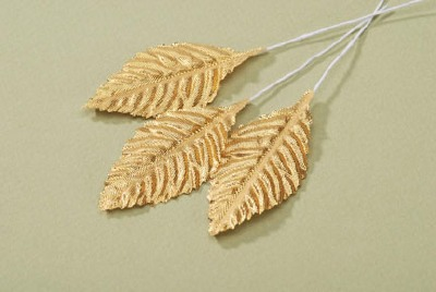"2.5""  Fake Rose Leaf Decoration - Gold  12 CT"