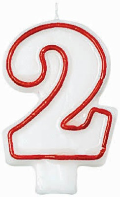 """3"""" Number 2 Candle Red Outline"""