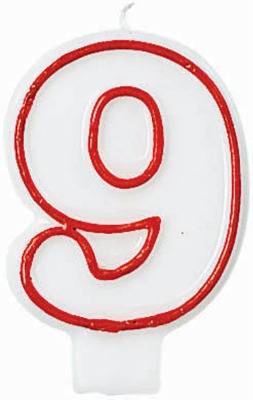 "3"" Number 9 Candle Red Outline"