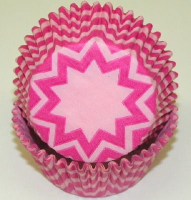 """1.25"""" X 2"""" Chevron Light Pink and Pink Baking Cups 500 Count"""