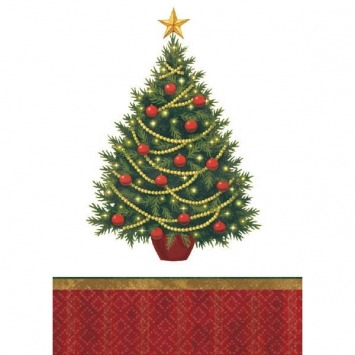 "54""X108 Christmas Tree Tablecover 3CT"